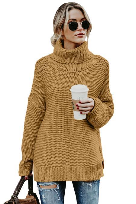 Хаки Уютный длинный рукав Водолазка свитер