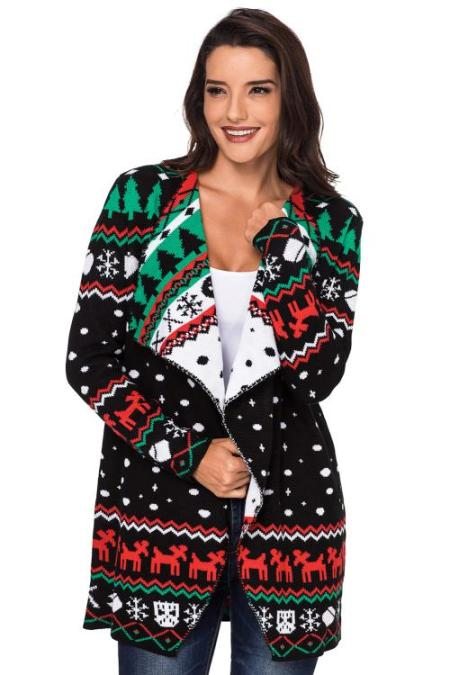 أسود عيد الميلاد Snowland ترتيب الأسرة ذوي الياقات البيضاء سترة صوفية