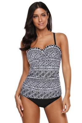 أسود أبيض نمط الطباعة Strappy عودة 2pcs Tankini ملابس السباحة
