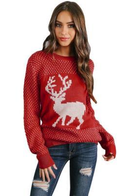 Snowy Day Reindeer suéter rojo de Navidad