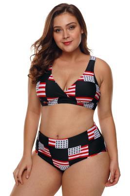 العلم الأمريكي فحص زائد حجم ملابس السباحة
