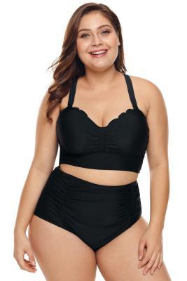 Bikini de talle alto con detalle de festoneado en negro y talla grande