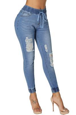 Pantalon de jogging en détresse, mode bleu clair