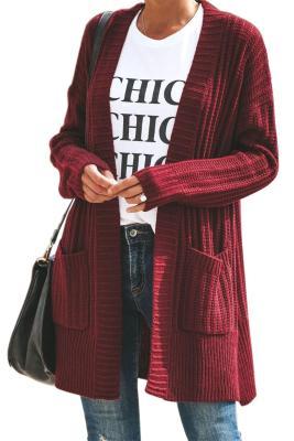 Cárdigan de manga larga con cuello esmoquin rojo y bolsillo