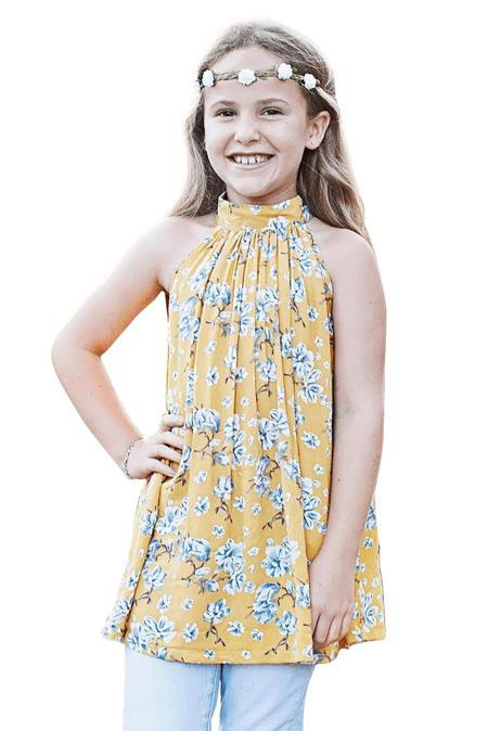 صفراء صغيرة بنات الزهور ألف خط بلوزة