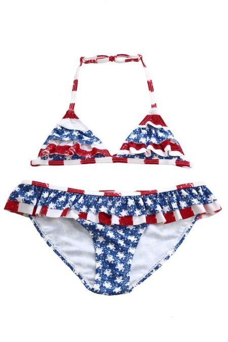 طبقات كشكش تقليم العلم الأمريكي ثوب السباحة