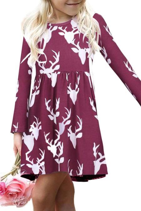 بورجوندي عيد الميلاد الغزلان طباعة كم طويل فستان فتاة