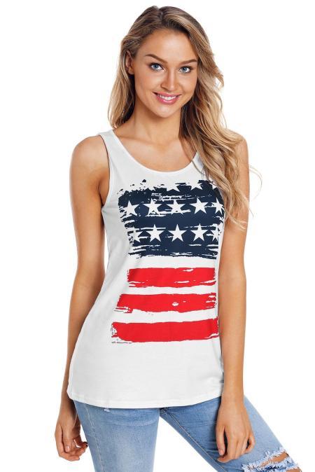 Vintage Stars & Stripes - Weißes, aktives Tank-Top mit Print