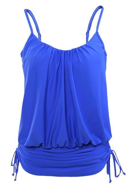 الأزرق السباغيتي الشريط Tankini السباحة الأعلى