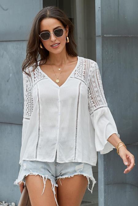 Blusa de crochet blanca The Du Jour