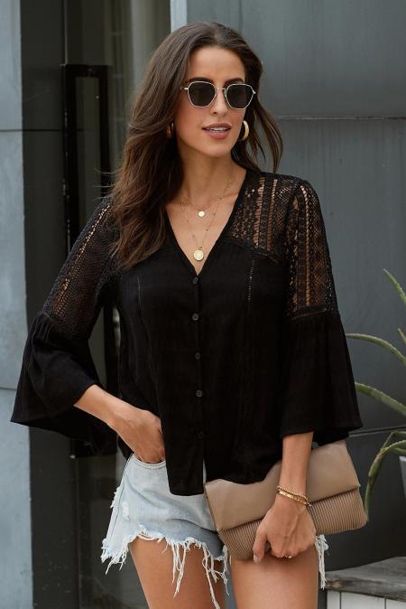 Blusa de crochet negra The Du Jour