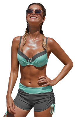 Maillot de bain bikini à armatures et patchwork bicolore gris menthe