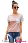 Camiseta a rayas de manga corta en color de contraste con bolsillo