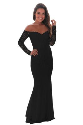 فستان ماكسي كروشيه أسود بدون أكتاف