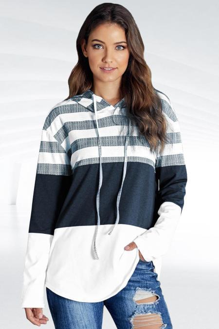 Sudadera con capucha y cordón en bloque de color blanco