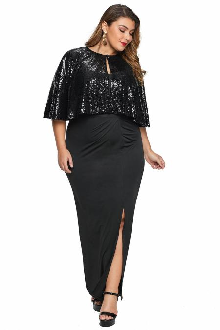 Vestido largo con capa de lentejuelas negras y talla grande