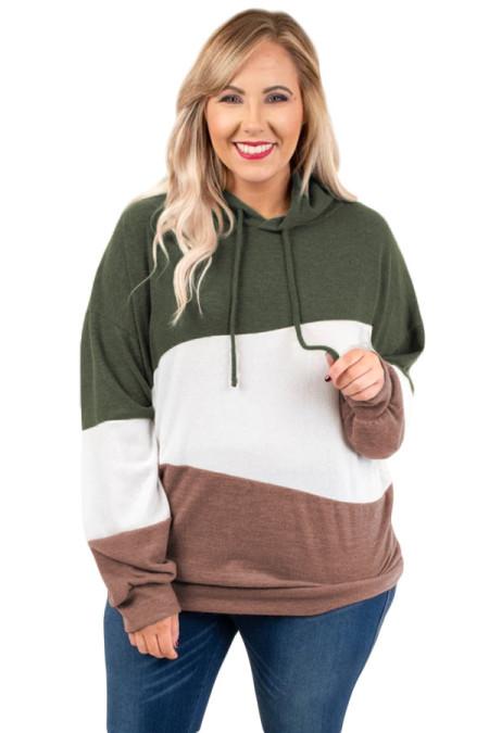 Sudadera con capucha verde Lucky Break Color Block Plus Size
