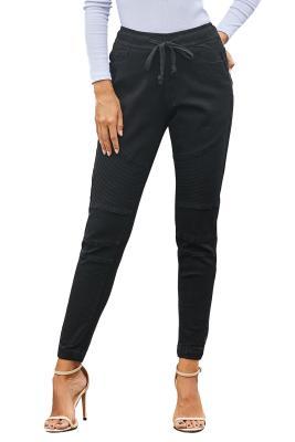 Pantalon en denim noir avec cordon de serrage à la taille