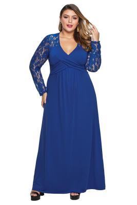 الأكمام الدانتيل الأزرق الصليب التفاف التمثال Ruched العودة بالاضافة الى حجم اللباس