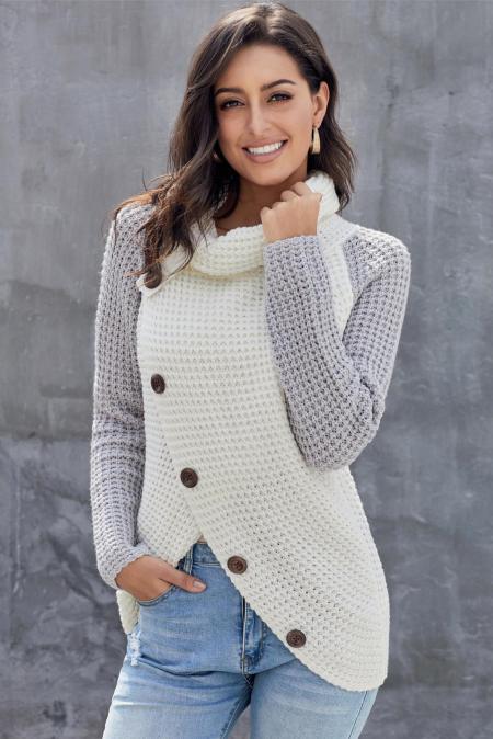 Серая пуговица с капюшоном с капюшоном Асимметричный пуловер с запахом