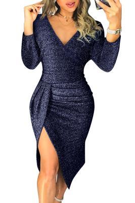 Выпускное платье с блестками и синим блеском