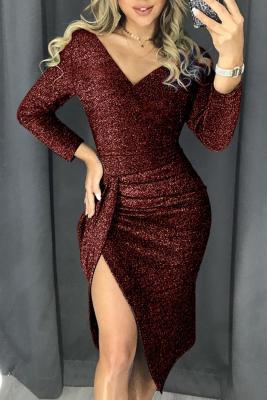 Выпускное платье с блестками и блестками Red Glitter
