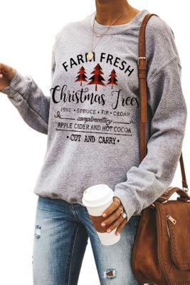 Sudadera con capucha y estampado de letras del árbol de navidad
