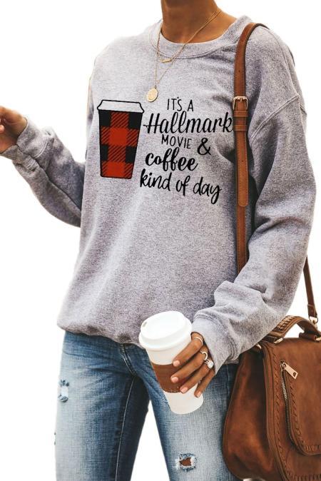 القهوة والشعار طباعة البلوز البلوز