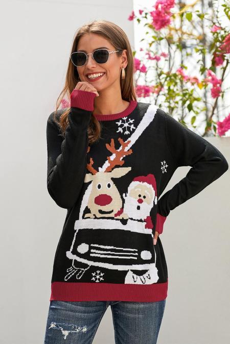الرنة السوداء بابا نويل الكرتون طباعة القبيح عيد الميلاد البلوز