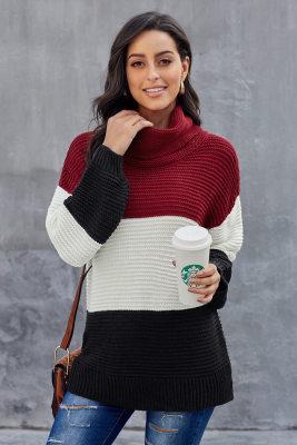 Пуловер с цветными черными водолазками