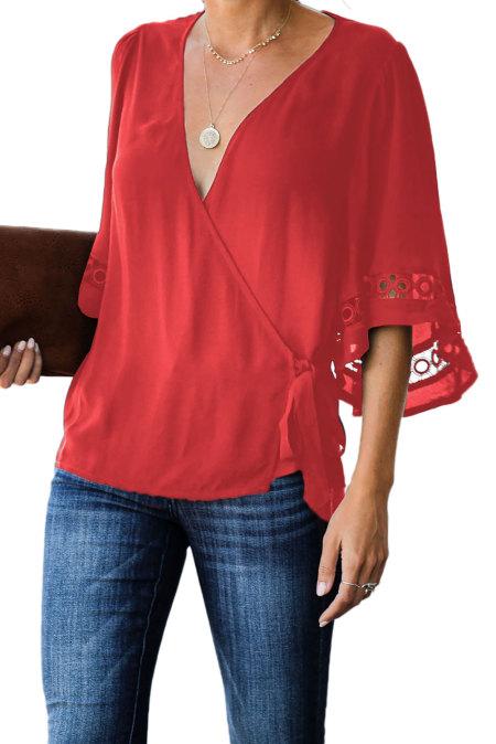 Blusa cruzada de crochet roja