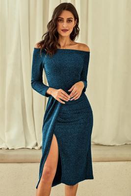 بريق معدني أزرق قبالة الكتف فستان حفلة موسيقية