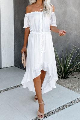 Bílá glazura vysoká nízká z ramene Maxi šaty