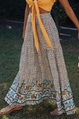 多色自由ho放に生きる花柄弾性ハイウエストプリーツaラインマキシスカート