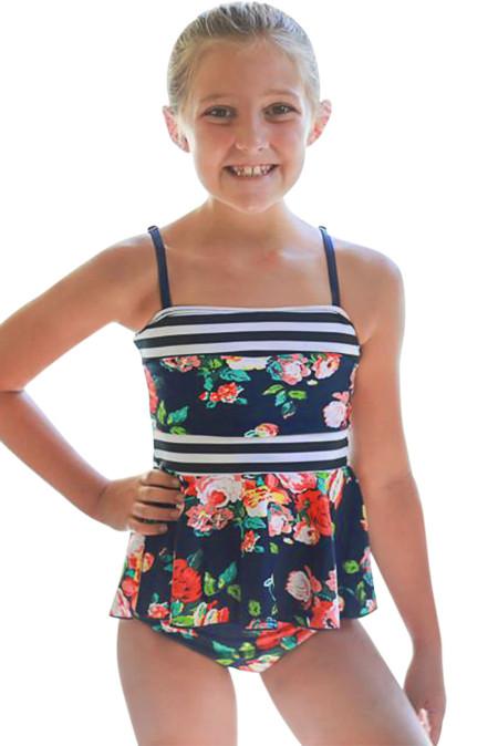 الأزرق الداكن طباعة الأزهار ملابس السباحة Peplum الفتيات الصغيرات