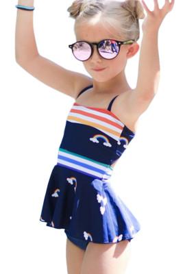 قوس قزح المشارب طباعة Peplum ليتل بنات ملابس السباحة