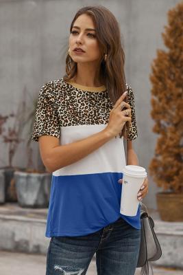 T-shirt léopard à blocs de couleur bleue