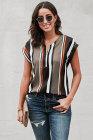 Blusa con cuello en V y rayas negras con mangas cortas y blusa con cremallera