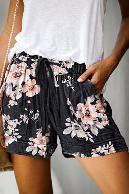 Černé květinové tisk šňůrka příležitostné elastické pasu kapsy šortky