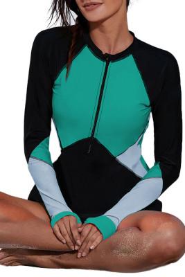 Haut de rashguard vert avec encolure zippée et bloc de couleur