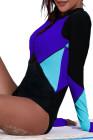 Rashguard bleu à encolure zippée et bloc de couleur
