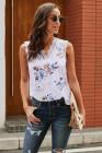 Camiseta sin mangas con cuello en V y encaje blanco
