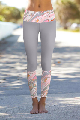 Paisley Gris Detalles Impresos Leggings Pantalones De Yoga