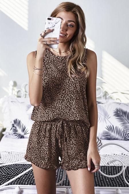 Leopard Swingy Tank a prohrábané šortky Loungewear