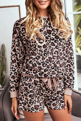 Ensemble de salon short à manches longues léopard rose