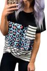 Camiseta con bolsillo de rayas de leopardo azul