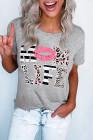 Leopard Mom Life Lips camiseta gris