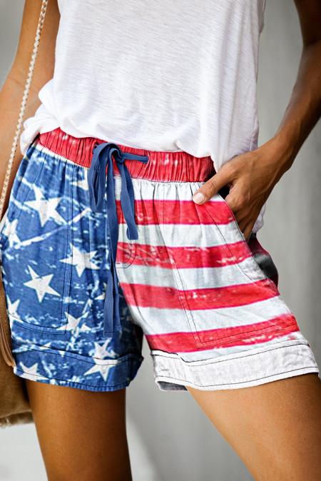 Повседневные эластичные шорты с карманами на шнуровке с американским флагом