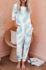 Ensemble de jogging bleu clair en tricot tie-dye à manches longues