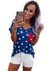 Футболка с принтом в виде звезды США Синяя футболка